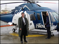 Business speaker, George Torok travelling by Helicopter to the presentation